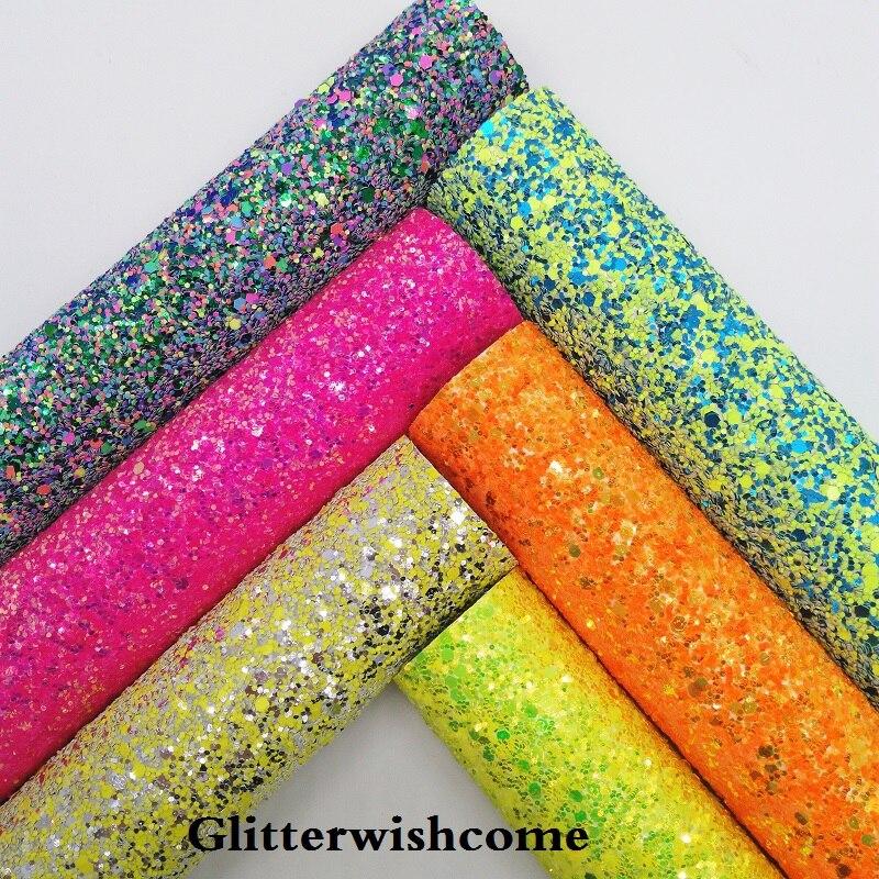 Glitterwishcome 21X29CM A4 Size Vinyl For Bows Chunky Glitter Leather Fabric Vinyl For Bows, GM257A