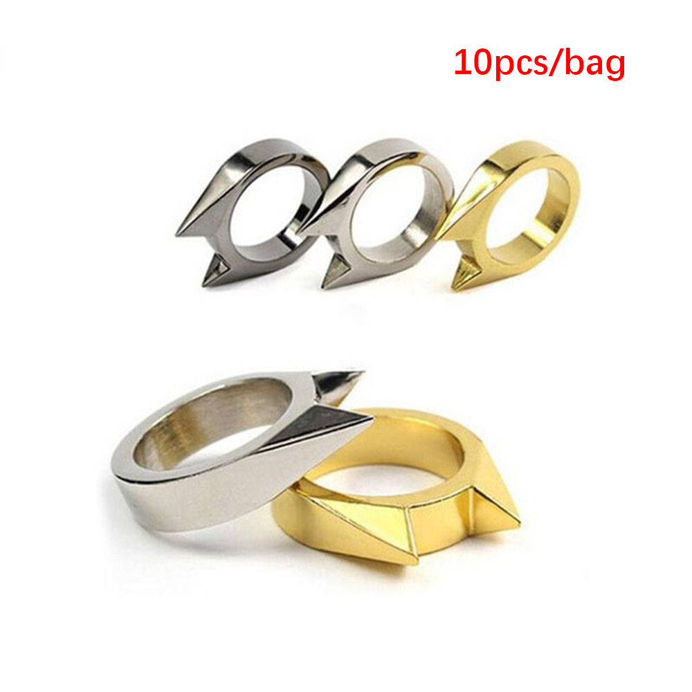 10pcs Self Defense Ring Personal Defense Weapons Men Women Survival Protection Finger Ring Safety Tool Stainless Steel