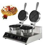 Elétrica Rodada Belgian Waffle Baker Criador Máquina Comercial Dupla Cabeça