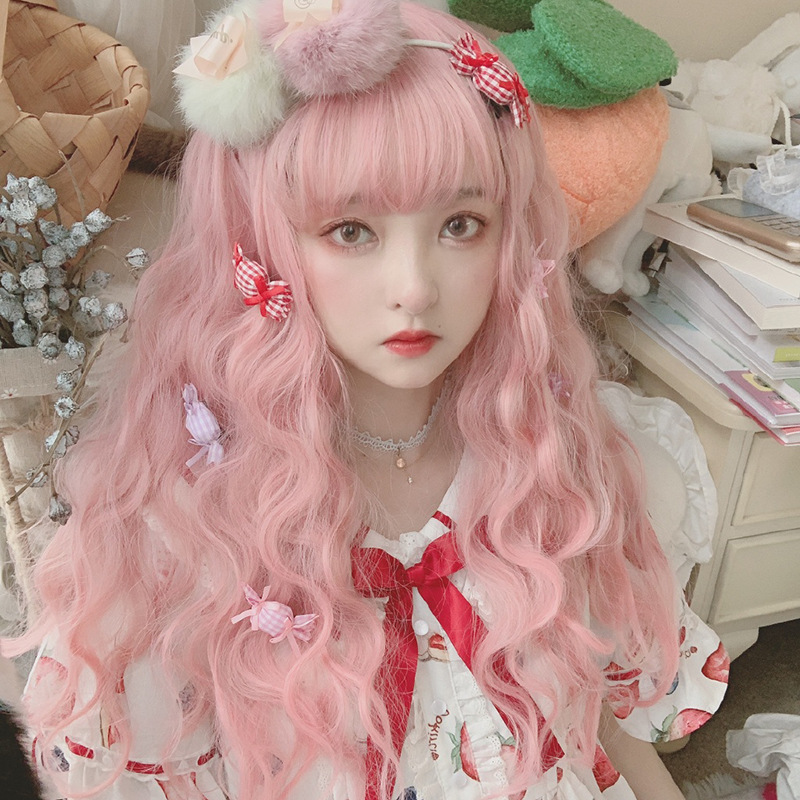 Lolita Wig Female Growth Curly Air Bangs Big Wave Wig Set Role Playing Stage Performance Cute Pink Girl Long HairModified Face