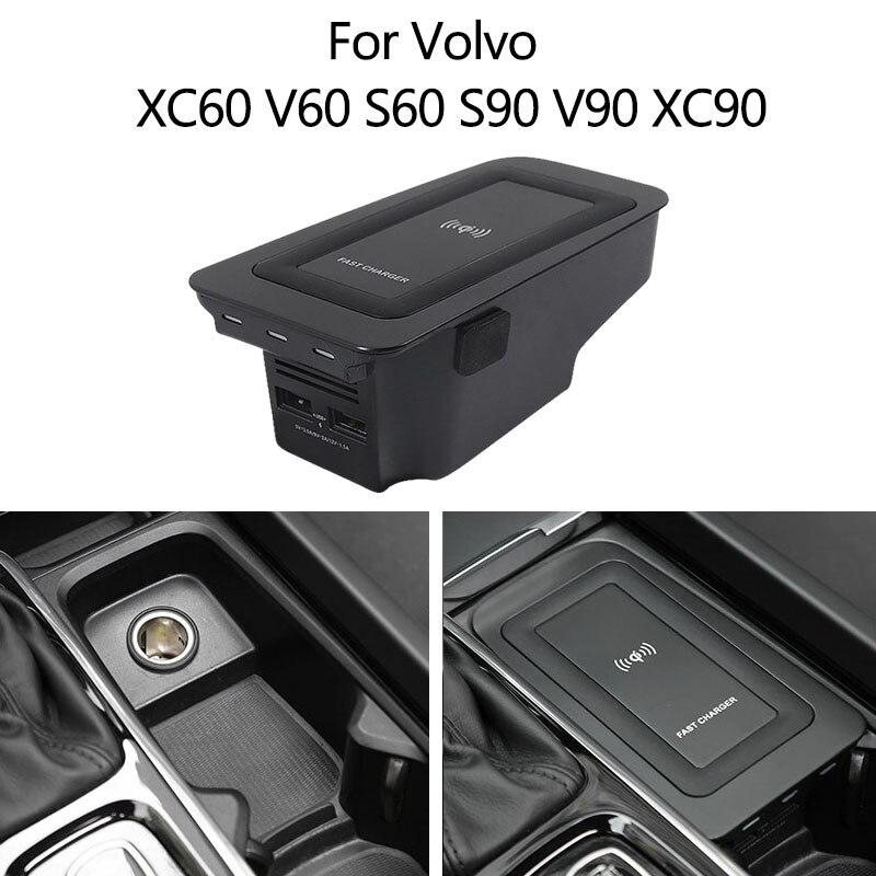 15 Вт для Volvo XC60 V60 S60 S90 V90 XC90 QI автомобиля мобильный телефон Беспроводное зарядное устройство для быстрой зарядки Apple специальная автомобильн...