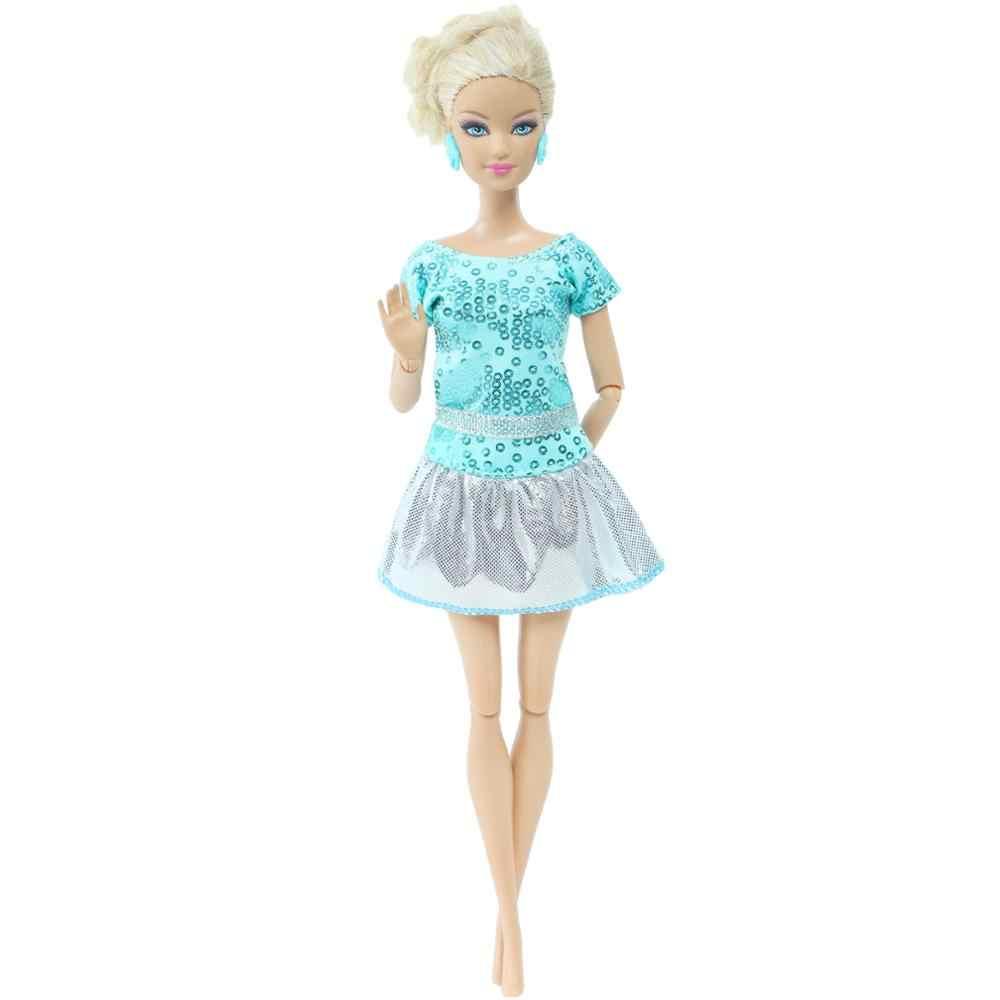 1 conjunto de roupas casuais para meninas, vestidos verdes de lantejoulas, saia seda, roupas diárias, acessórios para boneca de barbie brinquedo,