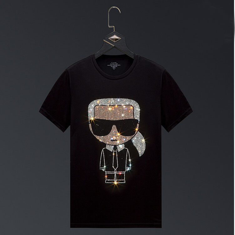 Men 2020 Cartoon Rhinestones T Shirt Men Brand Short Sleeve Fashion Man Streetwear O Neck Hot Drill Cotton Tshirt