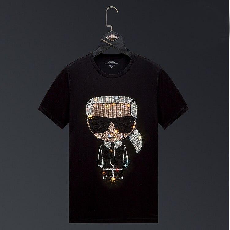 Men 2020 Cartoon Rhinestones T Shirt Men Brand Short Sleeve Fashion Man Streetwear O Neck Hot Drill Cotton Tshirt