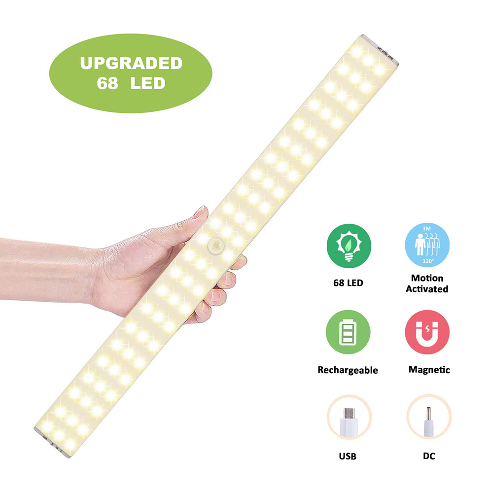 USB Rechargeable LED Under Cabinet Light 23/40/60CM /PIR Motion Sensor Lamp For Wardrobe Cupboard Closet Kitchen Night Light