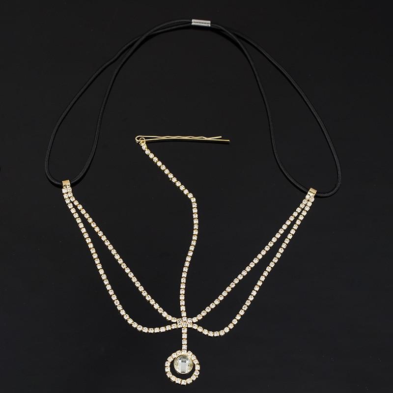 Fashion Women Head Chain Jewelry Metal Rhinestone Headband Head Piece Hair Ba TD