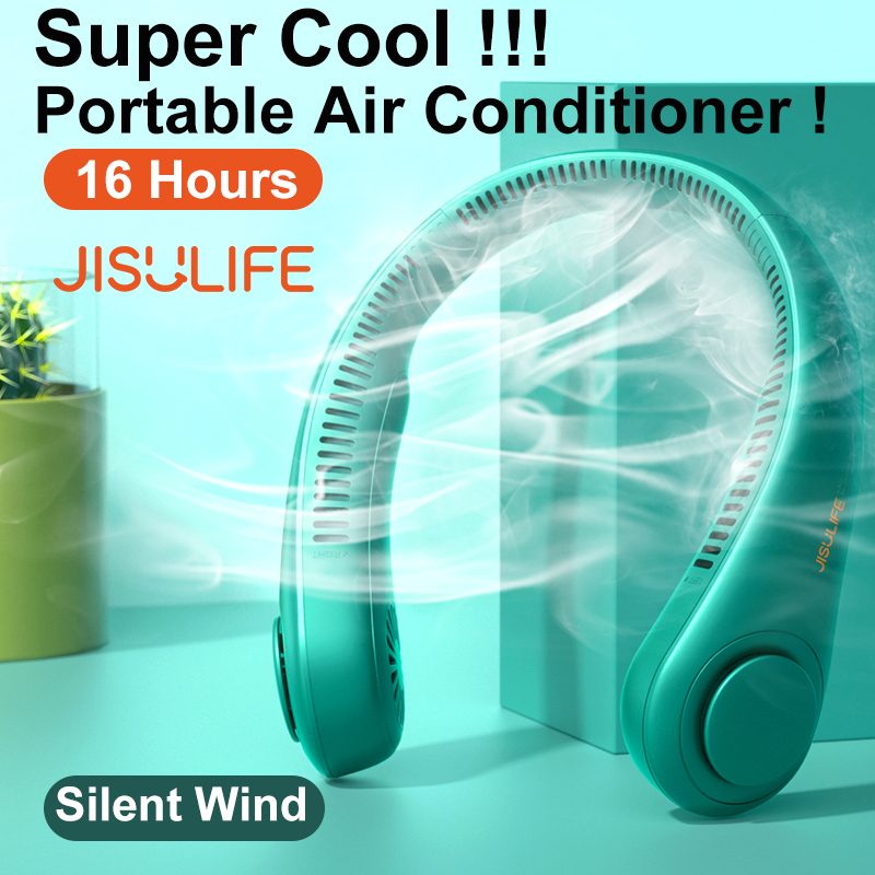 JISULIFE Mini Bladeless Fan Neck Fan 4000mAh USB Rechargeable Fan Mute Sports Fans for Home Outdoor Ventilador Portatil Abanicos