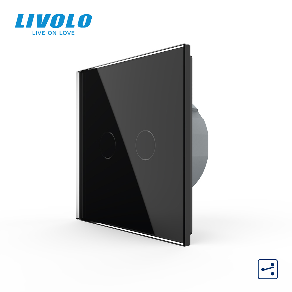Top SaleLivolo Touch-Switch Glass-Panel Wall-Light 2way-Control Crystal 2gang Standard 220-250V