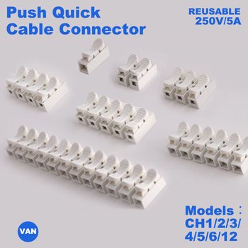 цена на CH1/CH2/CH3/CH4/CH5/CH6/CH12 High Pressure Resistant 2pin 3pin 10A 220V  Push Quick Wire Cable Connector White Wiring Terminal