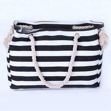 handbag  designer bags famous brand women 2018 Large capacity Stripe Cotton womens tote beach bag