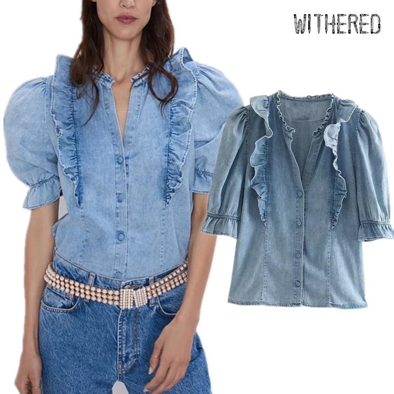 Murcho high street Cascading ruffles puff luva denim blusa mulheres blusas mujer de moda 2019 camisa das mulheres tops e blusas