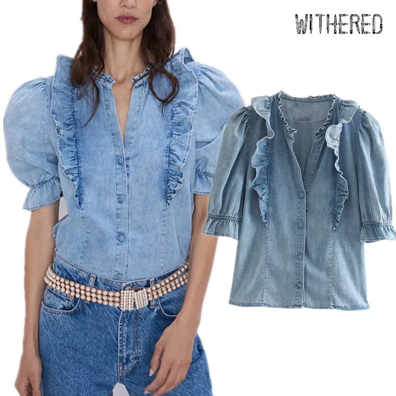 Withered High Street Cascading Ruffles Puff Sleeve Denim Blouse Women Blusas Mujer De Moda 2019 Shirt Womens Tops And Blouses
