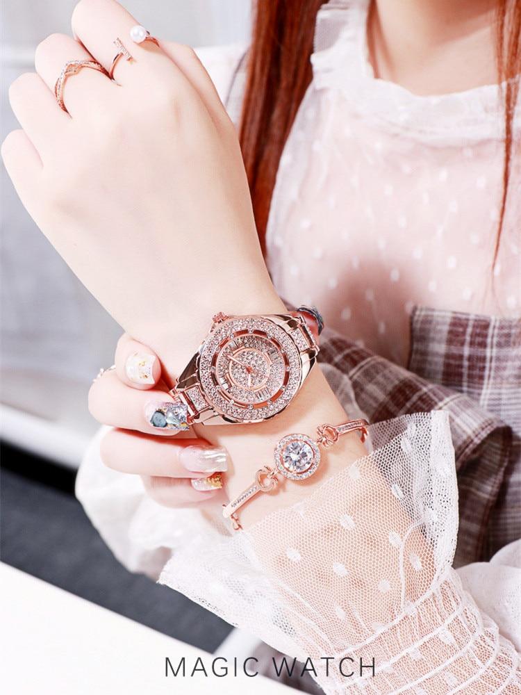 2020 Hot Sale Women Watches Lady Diamond Stone Dress Watch Gold Silver Stainless Steel Rhineston Wristwatch Female Crystal WatchWomens Watches   -