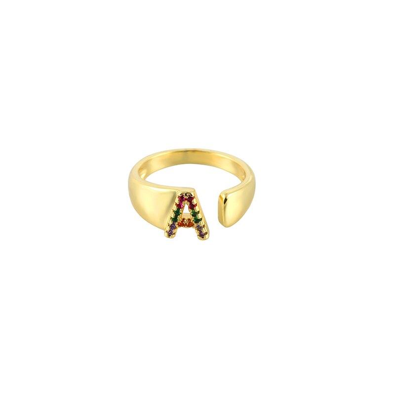 Inital письмо кольцо с алфавитом золота cz diy A-Z 26 кольца творческий семейный кольца с декоративной надписью ювелирные аксессуары для мужчин и женщин