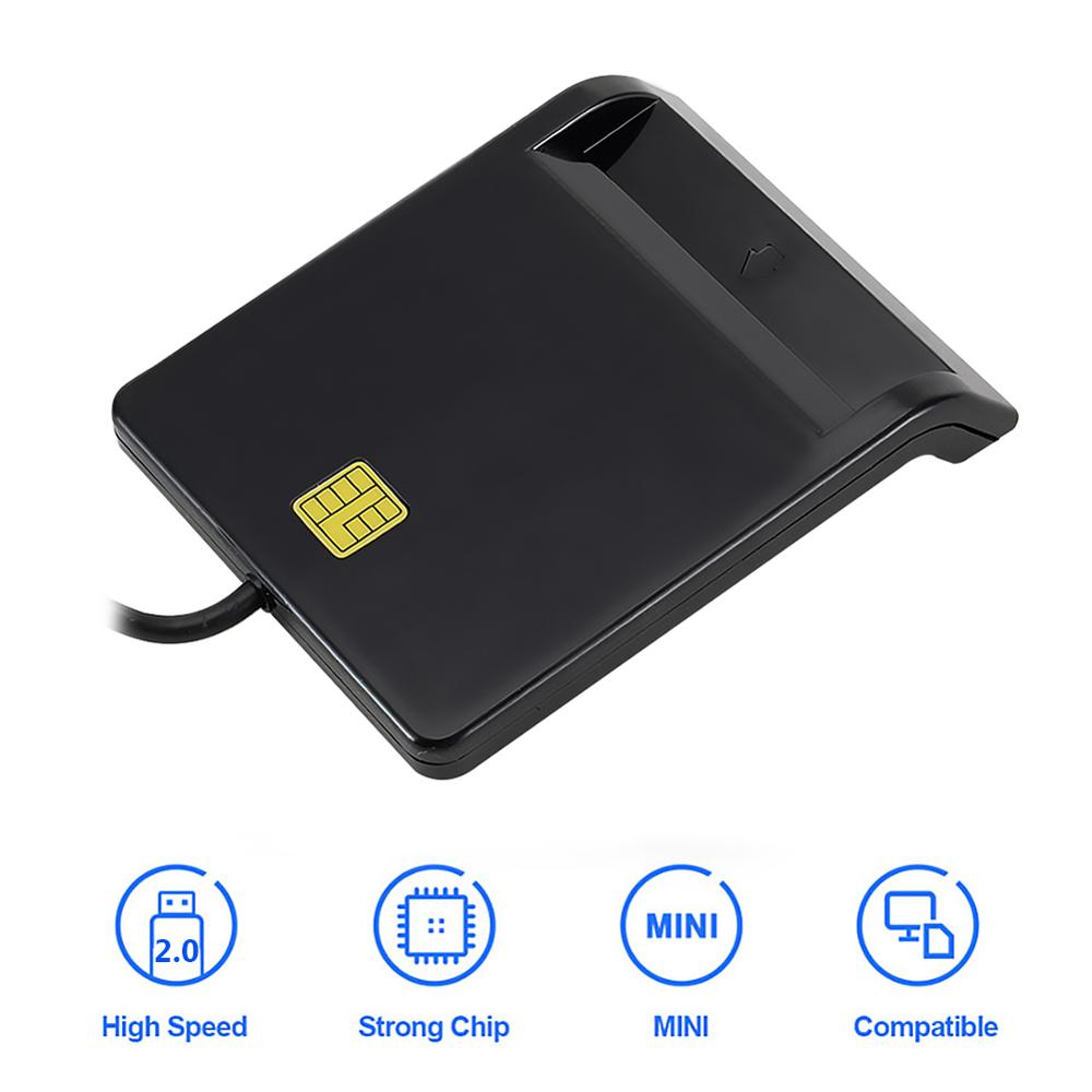 VKTECH Card Reader Portable USB 2.0 Smart Card Reader DNIE ATM CAC IC ID Bank Card SIM Card Cloner Connector For Windows Linux
