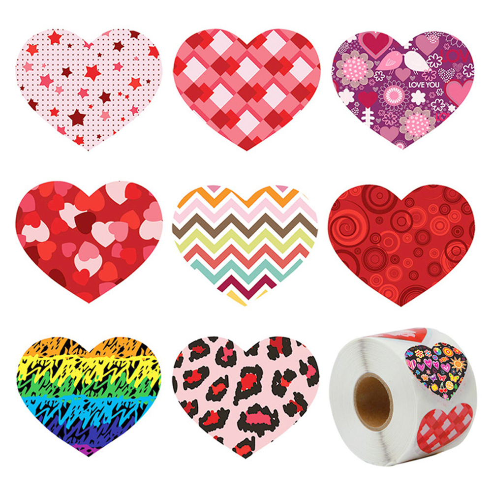 50-500pcs Birthday Party Sticker Heart Shaped Label Scrapbooking Gift Packaging Seal Wedding Supply Stationery Sticker 1inch