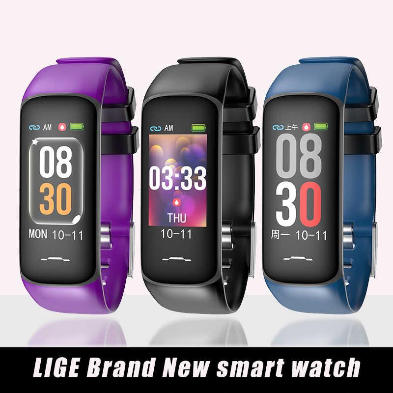 Умный Браслет LIGE Sprts, умные часы для здоровья, кровяное давление, пульсометр, шагомер, фитнес-трекер, Android ios