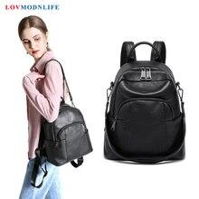купить Cute Backpack Women Shoulder Bag For Teenage Girls Multi-Function Small Bagpack Female Ladies School Backpack Genuine Leather дешево