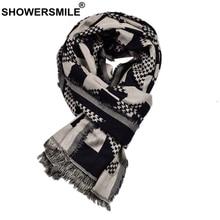 SHOWERSMILE Winter Men Scarf Black Cotton Linen Fashion Scarf for Men Tassel Geometric Print 2021 new arrival Brand Men Scarves