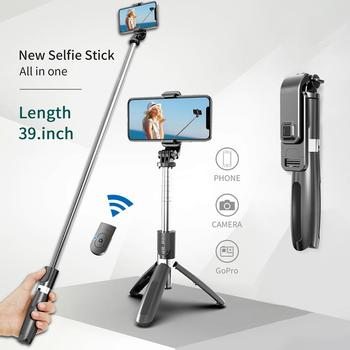 Nuovo portatile bluetooth 5.0 selfie stick telecomando treppiede handphone live photo holder treppiede fotocamera autoscatto