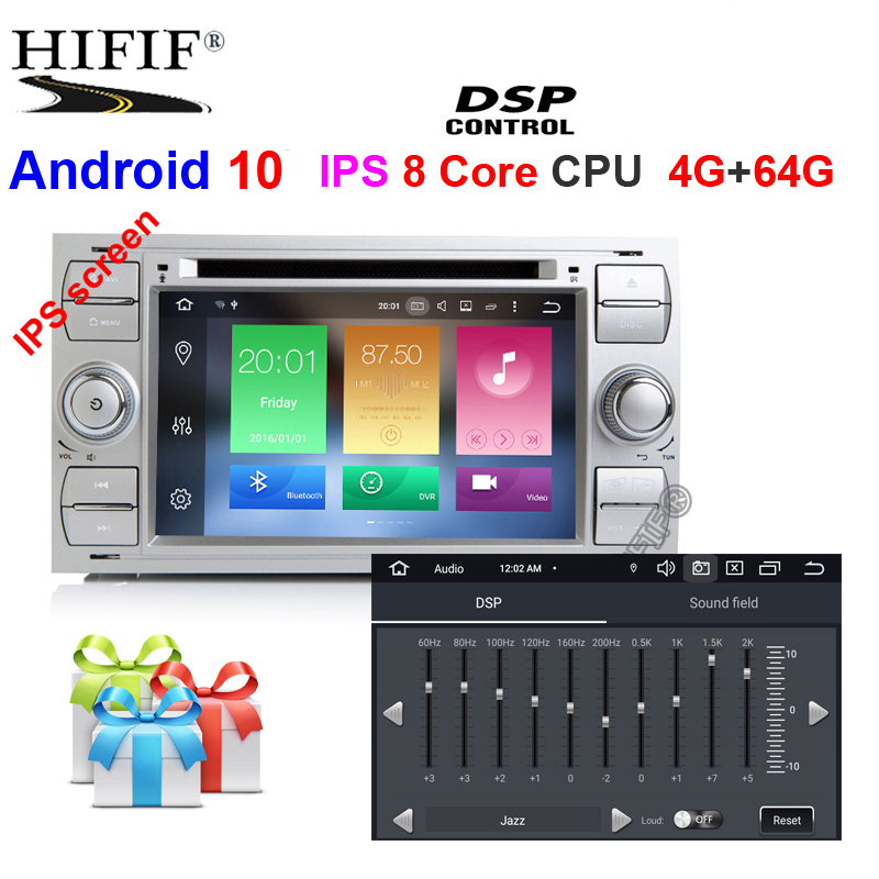 IPS Car Multimedia Player GPS Android10 2 Din For <font><b>Ford</b></font>/Mondeo/<font><b>Focus</b></font>/Transit/C-MAX <font><b>Auto</b></font> <font><b>Radio</b></font> Bluetooth DVR Autoradio DSP DVD DVR image