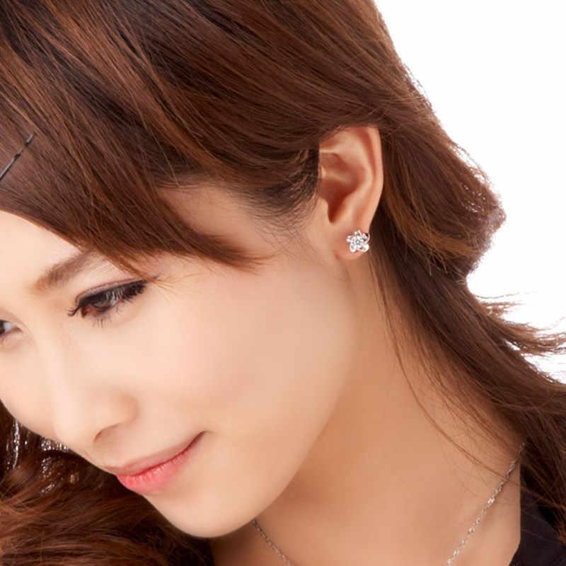 2019 bonito do sexo feminino jóias artesanais feminino 925 sliver flor de lótus orelha brincos brincos de borboleta
