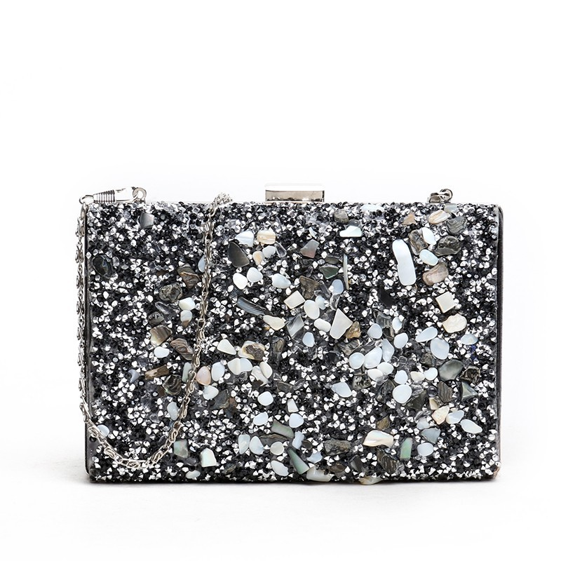 Fashion Shiny Sequins Women Clutch Bags Designer Stone Chains Shoulder Bags Luxury Pu Leather Crossbody Bag Crystal Party Purses