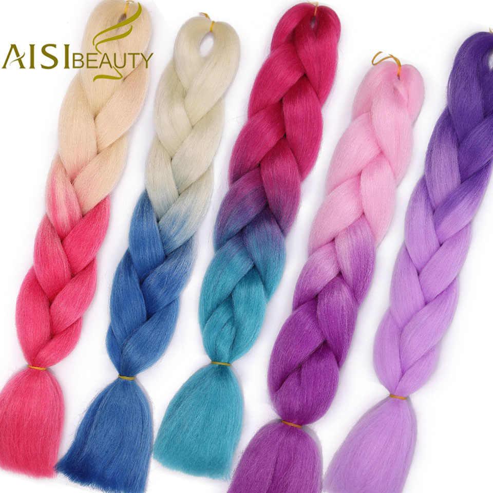 AISI BEAUTY Ombre trenzas de pelo Kanekalaon Jumbo trenzas sintéticas de alta temperatura de fibra Ombre Rosa rojo púrpura extensiones de cabello