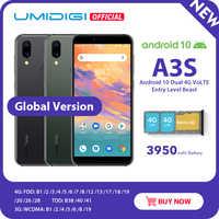 """UMIDIGI A3S Android 10 bande mondiale 3950mAh double caméra arrière 5.7 """"Smartphone 13MP Selfie Triple fentes double 4G VoLTE celulaire"""