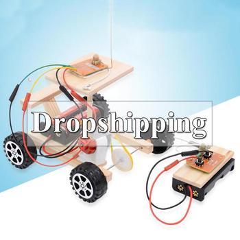 20 tipo DIY de Control remoto inalámbrico de carreras de modelo Kit de madera para niños de ciencia física de juguete ensamblado juguete educativo de coche