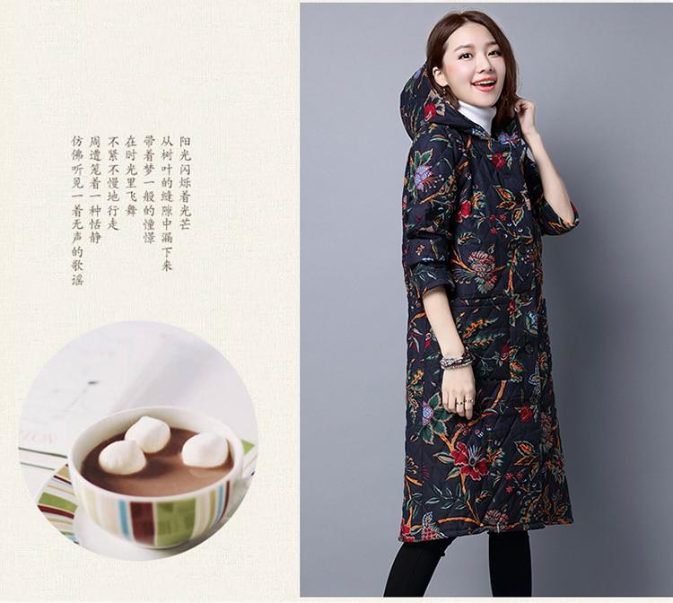 Зима, стиль, хлопок, лен, большой размер, платье, толстый мм, этнический стиль, с капюшоном, кардиган, средней длины, зимняя хлопковая стеганая одежда