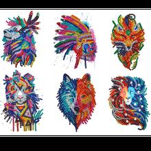 5D DIY Voller Bohrer Spezielle Geformt Farbe lion tiger wolf fuchs Diamant Malerei Puzzle Kinder Aufkleber Diamant Gemälde aufkleber