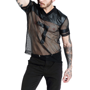 Men T-Shirts Mesh PU Leather Patchwork Shorts Sleeve Undershirt Gym Sports Jogging Fitness Tops Tee Gay Wetlook Erotic Clubwear(China)