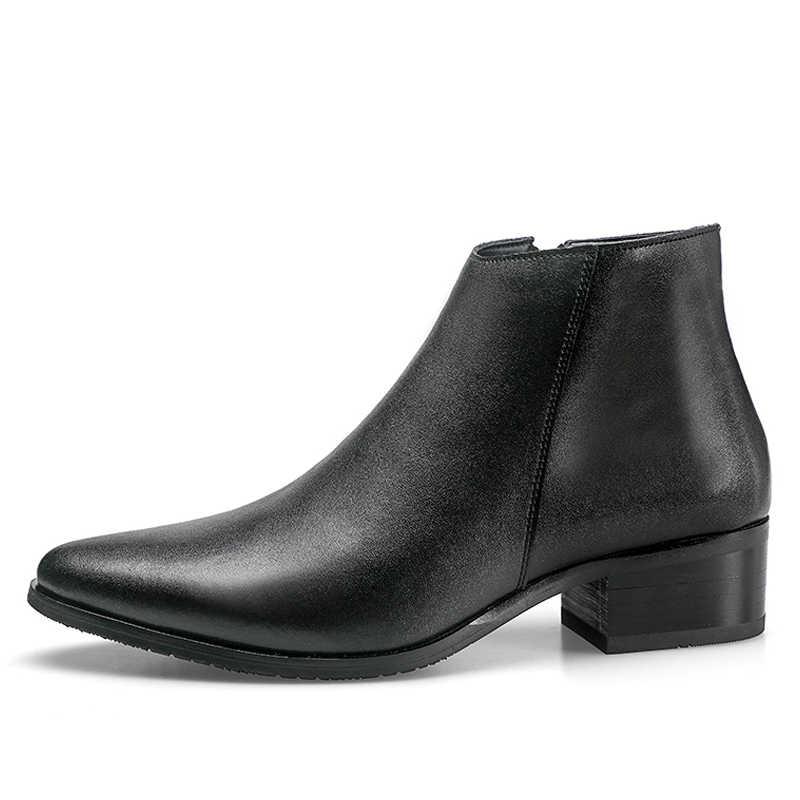 Junjarm 2019 Mannen Enkellaarsjes Echt Leer Mannen Laarzen Mode Mannen Chelsea Laarzen Zwart Comfortabele Mannen Schoeisel