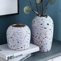 Kreative Nordic Wohnzimmer Keramik Vase Büro Restaurant Getrocknete Blume Blume Anordnung Terrazzo Muster Handwerk Dekoration