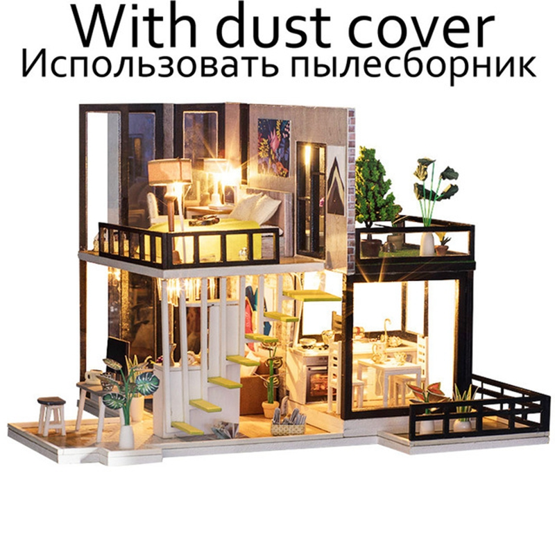 Miniatura Doll Houses Miniature Dollhouse Assemble DIY Doll House Toy Wooden Toys With Furniture Dust Cover LED Birthday Gift