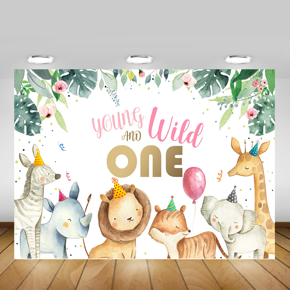Mocsicka Young Wild and One Backdrop Safari First Birthday Photo Background for Girls 7x5ft Pink Flower Safari Wild One Birthday Backdrops