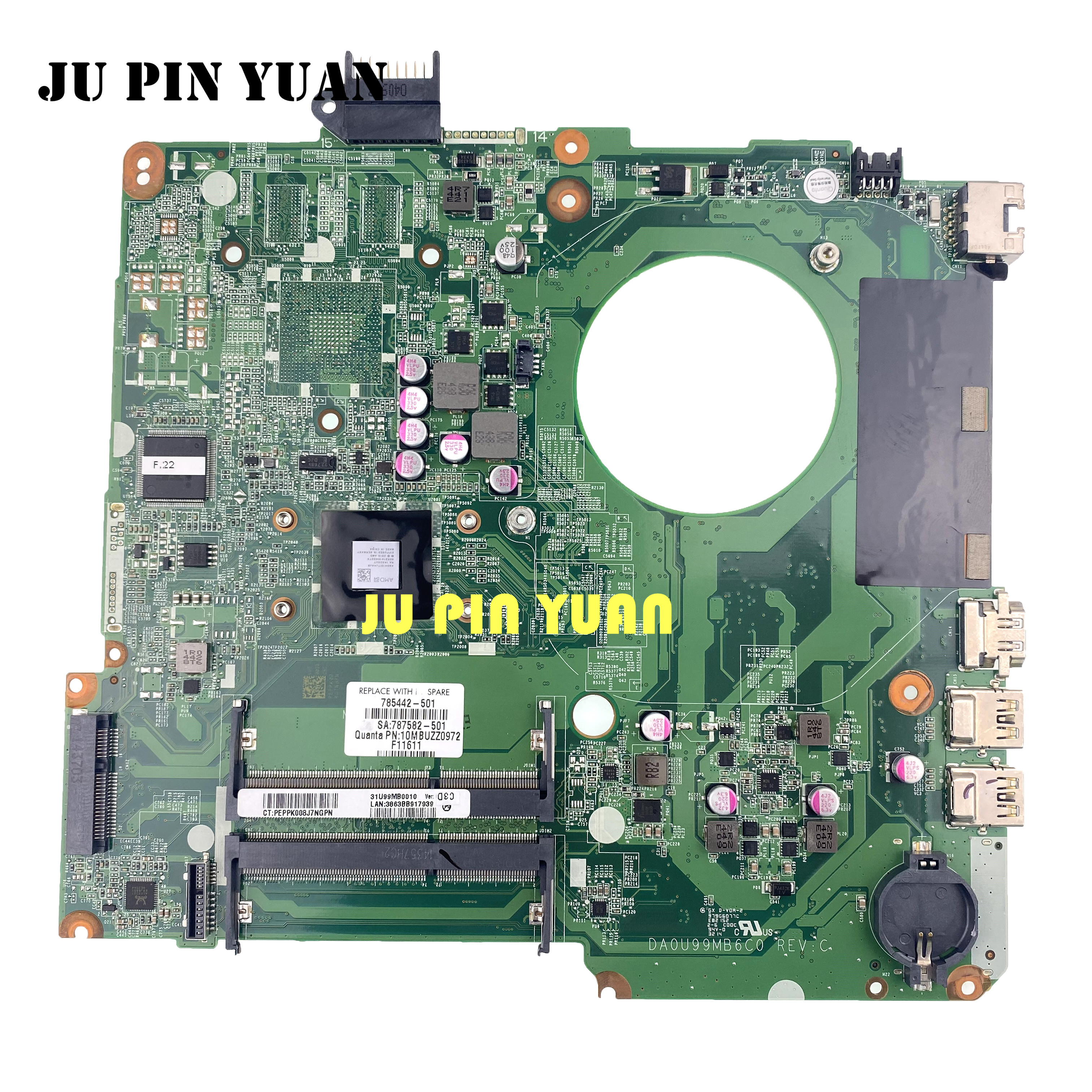For HP 15-F laptop motherboard 785442-501 DA0U99MB6C0 AMD CPU 100/% tested