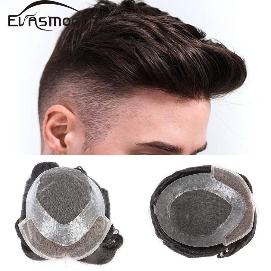 100% Human Hair Toupee Mens Wig Thin Skin Swiss Lace&Pu Front Wig Hair Replacement Men Toupee Human Hair Wigs Man Free Shipping