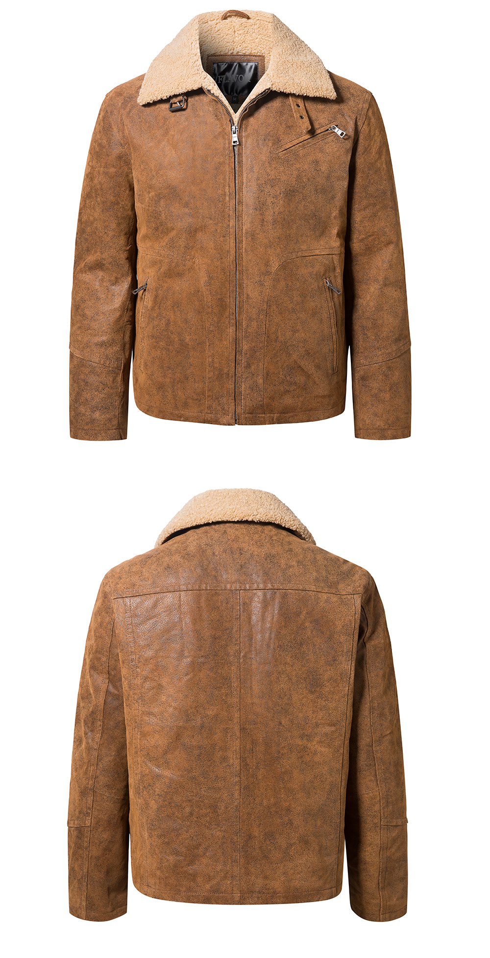 Ha8e412d36b8d472bbb2e6bd04308118fS FLAVOR New Men's Genuine Leather Motorcycle Jacket Pigskin with Faux Shearling Real Leather Jacket Bomber Coat Men