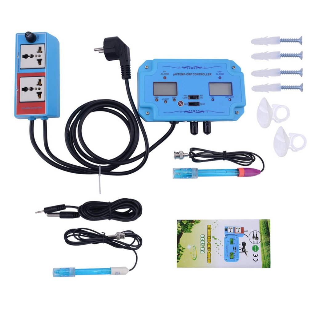 3 In 1 PH/TEMP/ORP Controller Water Quality Detector BNC Type Probe Water Quality Tester Analyzer Aquarium Monitor
