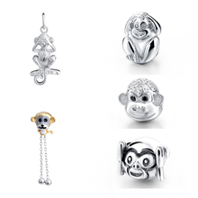 Fit Pandora Charms Bracelets sterling silver 925 Original lovely monkey beads pendant Authentic DIY Jewelry Making for men gift new arrival charms sterling silver 925 hat beads fit original pandora charm bracelets diy jewelry accessory making for men gift