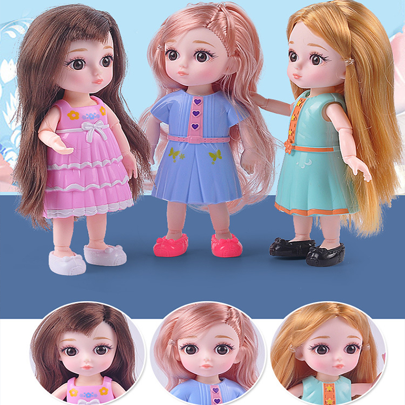 15cm Fashion BJD Dolls 13 Joint Moveable Original 1/12 Princess Doll Toys Makeup Dress Up Nude Cute Baby Doll Toy For Kids Gifts