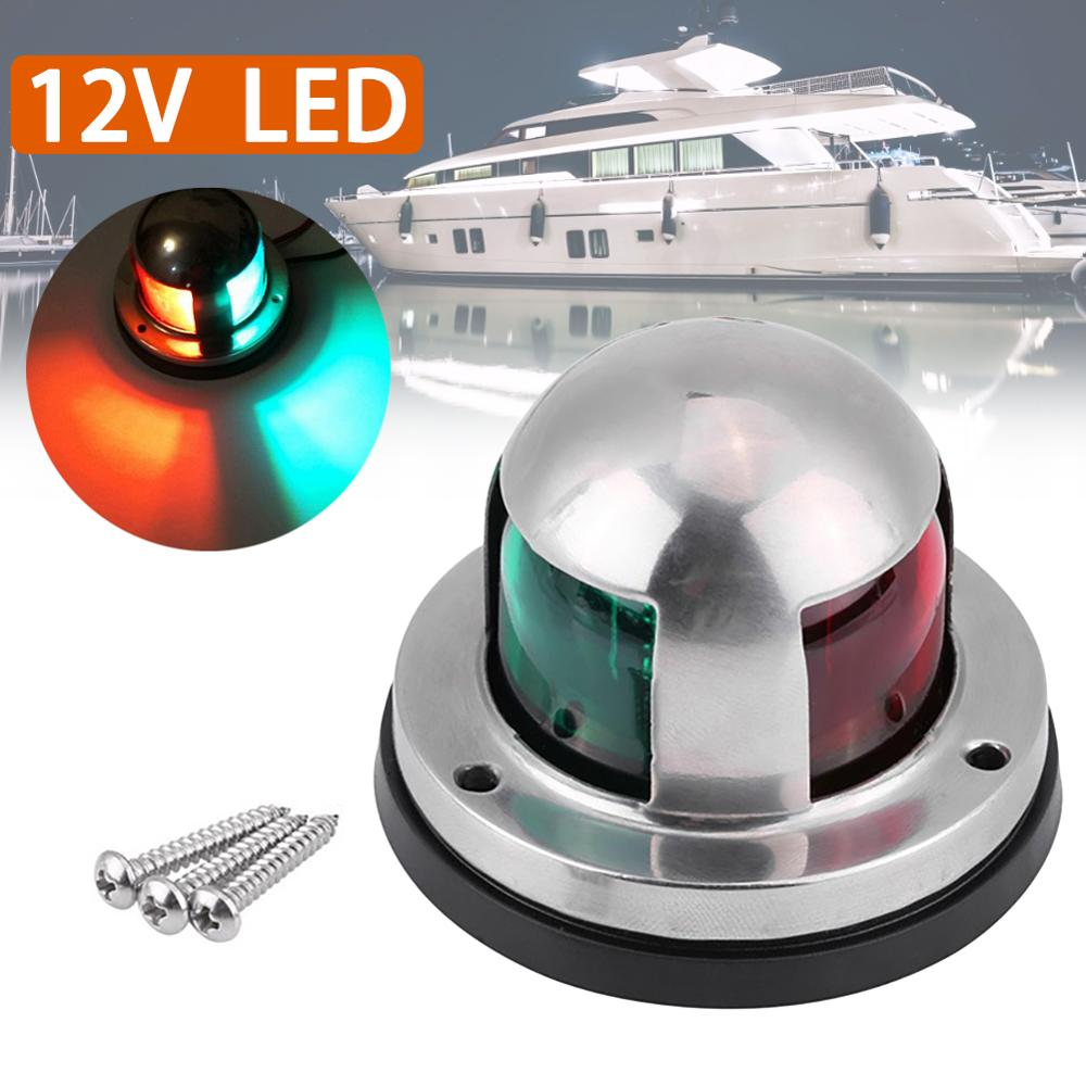 1pcs 12V 316 Stainless Steel Marine Boat Yacht LED Navigation Light Red And Green Bow Lights Deck Mount