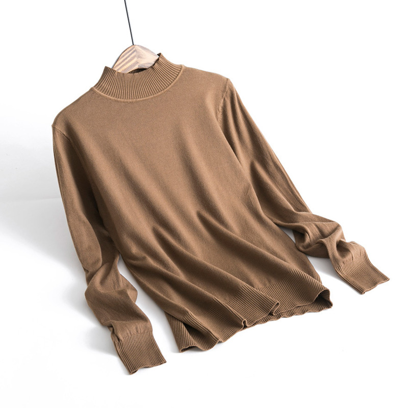 Woman Crop Top Sweater Brown 60% Cashmere Knitted Turtleneck Sweater Woman Classic Pullover Sweater