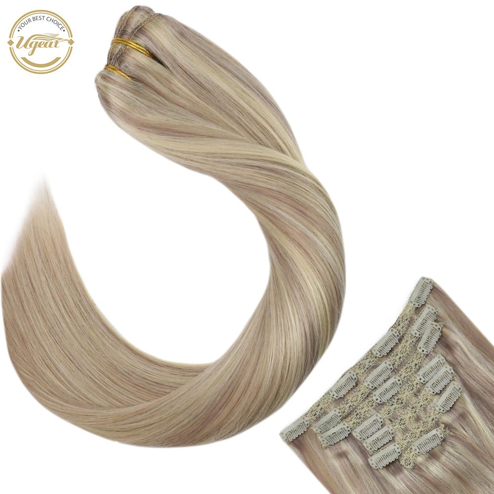 """Ugeat Clip in Hair Extensions Real Human Hair 14-24"""" 120g/7pcs Machine Remy Hair Blonde Color Full Head Clip in Extensions"""