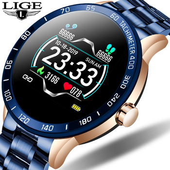 LIGE 2020 New Steel band smart watch Bracelet Band Waterproof sport men women Heart rate Fitness tracker wrist