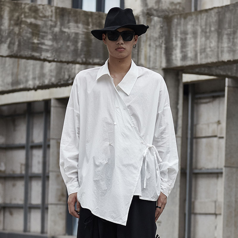 EWQ / Men's Wear Design Long Sleeve White Shirt Male 2020 Spring Summer New Drawstring Bandage Irregular Large Size Tops 9Y1711