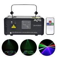 AUCD Mini Portable IR Remote DMX 400mW RGB Full Color Laser Projector Lighting Scanner Disco Bar DJ Party Show Stage Lights DM F