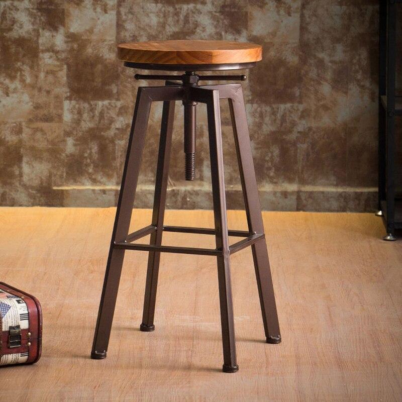 30%N3B Iron Bar Chair Industrial Wind Rotating Bar Stool Home Lifting Bar Chair Solid Wood High Chair High Bar Stool